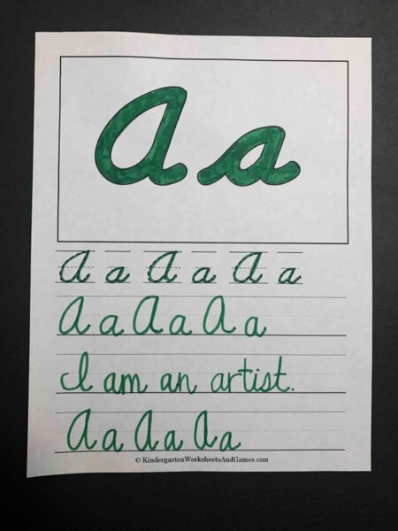 Cursive Tracing Pages featuring letter a