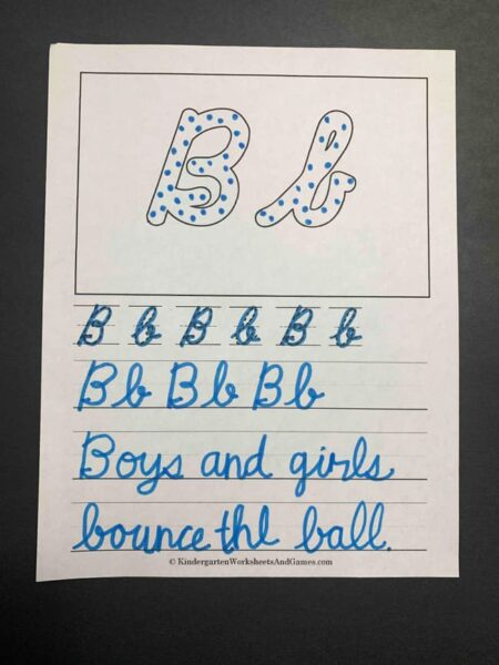 Cursive Writing Worksheets featuring the letter b
