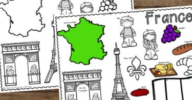 free printable coloring sheet to learn about France for Kids including map, french flag, eiffel tower, arc de triump, grapes, artist, cheese
