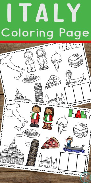 FREE Italy Coloring Page - free printable worksheet for kids to color and learn about Italy - flag, map, pizza, gelato, venice, and more This coloring sheet is great for learning about other countries with toddlers, preschoolers, pre k, kindergarten, grade 1, grade 2, and grde 3 who are on the news with coronavirus pandemic and in social isolation #italyforkids #coloringsheets #covid19 #preschool #kindergarten