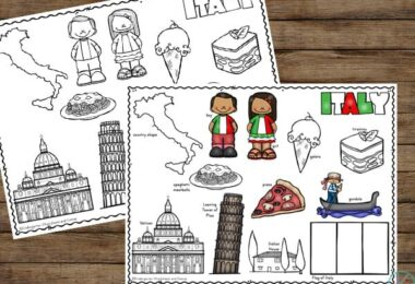 free Italy Printable to help parents, teachers, and homeschoolers learn about amazing country landmarks and customs