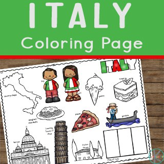 Italy for Kids with free coloring sheet