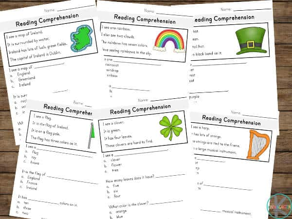 FREE St Patricks Day Reading Comprehension Worksheets