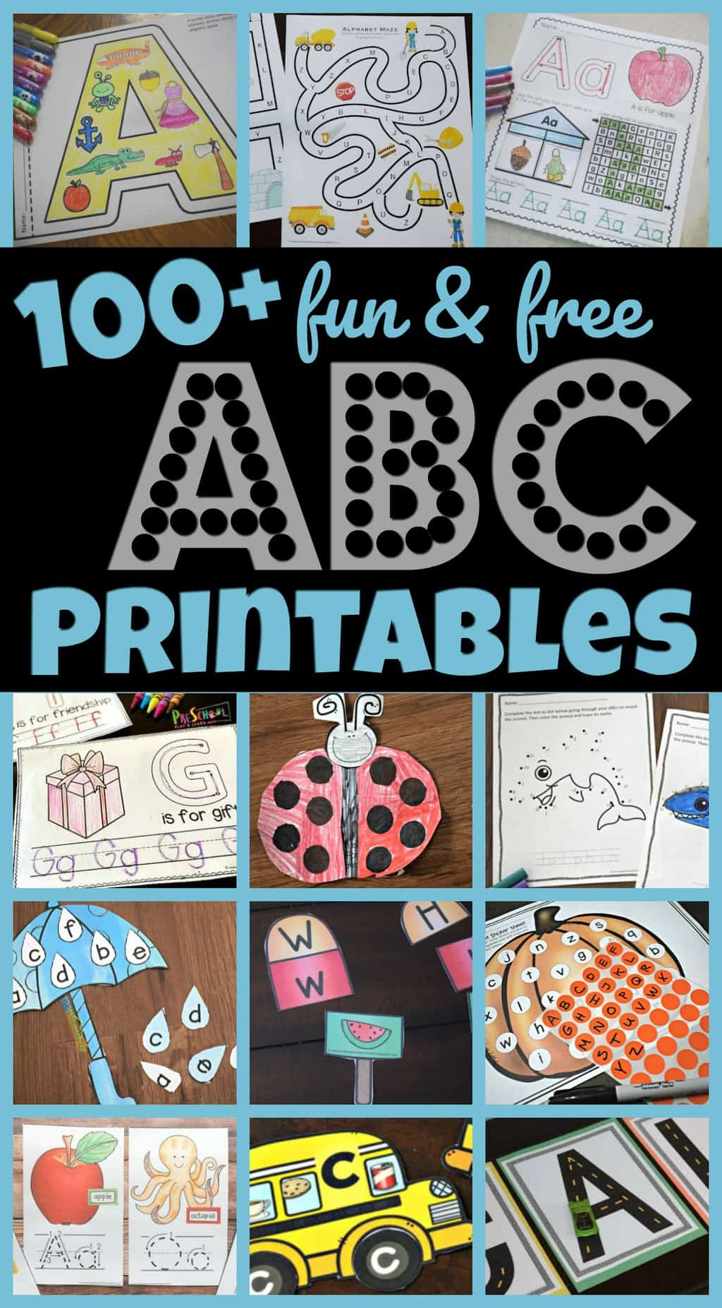 100+ Free ABC Printables -lots of alphabet worksheets, alphabet games, letter matching, letter recognition, alphabet crafts, alphabet activities and more to make learning their letters fun for toddler, preschool, pre k, and kindergarten age kids #abc #alphabet #preschool #kindergarten