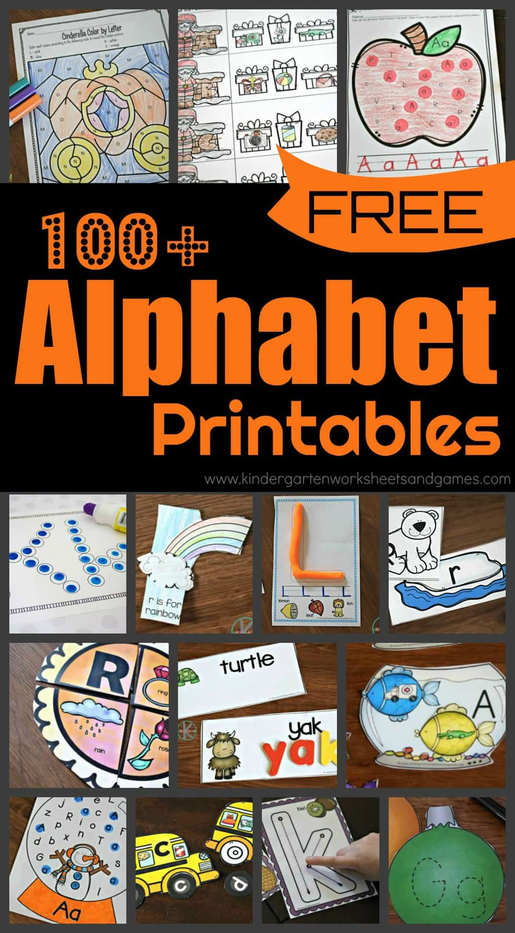 100+ Alphabet Printables - lots of fun alphabet worksheets, abc games, letter matching, alphabet activites, alphabet crafts, and more to help toddlers, preschoolers and kindergartners have fun learning their letters from A to Z. #alphabet #alphabetprintables #prek #kindergarten