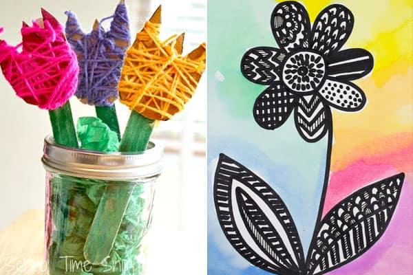 yarn and zebra flower crafts