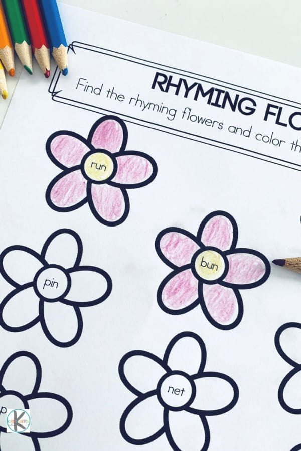 flower rhyming words for kindergarten