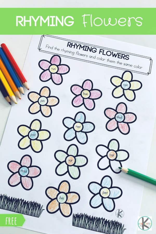 FREE Rhyming Flowers - Help Kindergarten age students practice rhyming words with these super cute, FREE printable Flowers Rhyming Worksheet perfect for working on reading readiness this spring. #rhyming #kindergarten #kindergartenworksheets #literacy