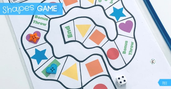 Shapes for Kids printable board game