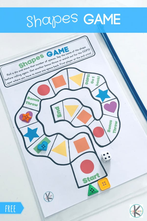 FREE Shapes Game Help young learners practice identifying shapes with this fun, FREE printable Shapes game for preschool, pre k, kindergarten, and 1st grade students.