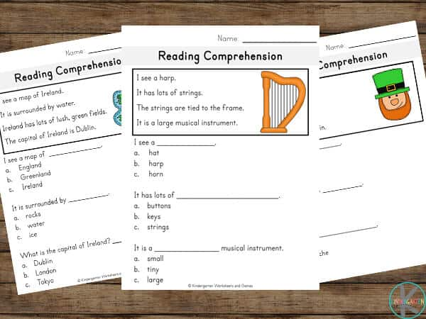 grab these st patricks day printables for kindergartners and grade 1 students to improve reading comprehension