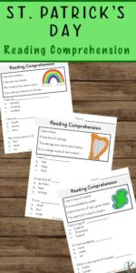 FREE St Patricks Day Reading Comprehension - these worksheets are a great no prep activity to help kindergarten and first grade students work on reading skills and early literacy with printables perfect for march #education #kindergarten #grade1
