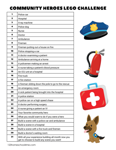 Community Helpers printable for prek, kindergarten, first grade, 2nd grade, 3rd grade students using lego