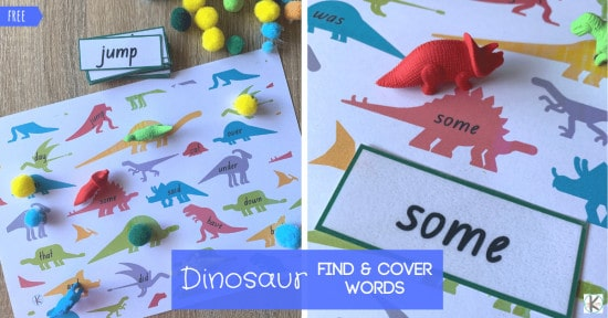 super cute, hands on, FREE Dino Sight Words Game