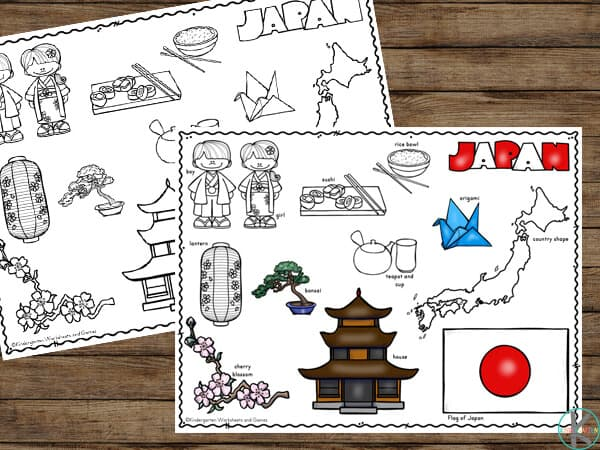 FREE Japan Printables to teach toddler, preschool, pre k, kindergarten, and first grade about countries around the world