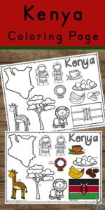 Use these free printable Kenya Coloring Pages to learn about the fascinating African country of Kenya! From colorful tribal wear to safaris filled with elephants and lions, thatch roof houses and mandazi to eat this is a great, no prep printable for preschool, pre k, kindergarten, first grade, 2nd grade, 3rd grade, 4th grade, and 5th grade kids.