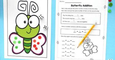 butterfly themed kindergarten math game