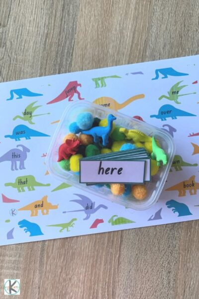 grab the free printable Kindergarten Sight Words Games that uses dinosaur figures