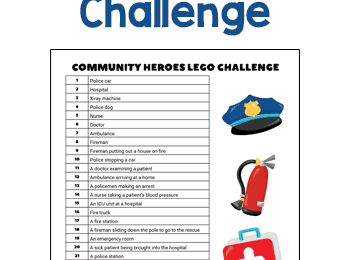 Celebrate Community Heroes while helping kids improve coordination, strengthen fine motor skills, and express their creativity with this free printable Lego Challenge.