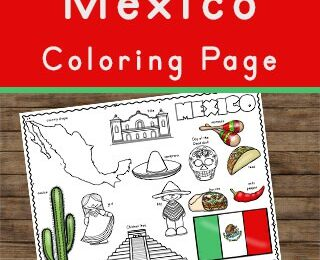 learn about mexico for kids with these coloring pages including map, flag, cactus, pyramids like Chicen Itza, taco, sombreo, missions, peppers, pinatas and more