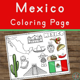 FREE Printable Mexico Flag & color book pages | 8½ x 11 | 320x320