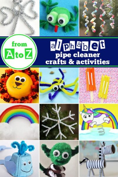 Amazing Pipe Cleaner Crafts for every letter. These alphabet crafts are perfect for preschool, pre k, kindergarten, first grade, 2nd grade for letter of the week