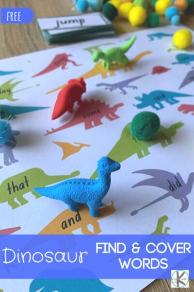 Looking for a fun way to help your child improve their reading? You will love  dinosaur sight words. This free printable dinosaur sight word game is a fun, engaging way for pre-k, kindergarten, and first grade students to work on visual discrimination as they identify and read kindergarten sight words. This high frequency word games printable is such a fun sight words activity to make learning fun with a dinosaur theme kids will love. Simply download pdf file with dinosaur printables and you are ready to play and learn!