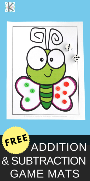 FREE Butterfly math - hands-on math activity for pre k, kindergarten, and grade 1 practice addition and subtraction with a spring themed butterfly math game.