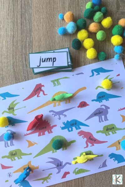 free dinosaur printable activity to practice sight words with preschoolers, prek, kindergartners, and first graders
