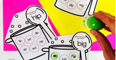 free do a dot printables for kindergarten, pre k, and grade 1 to work on rhymes, cvc words