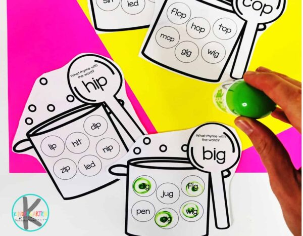 free do a dot printables for kindergarten, pre k, and grade 1 to work on rhymes, cvc words- pictured big, hip, and cop
