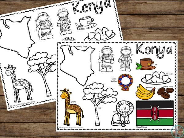 super cute free printable kenya coloring sheets for toddler, preschool, pre k, kindergarten, first grade children to learn about countries around the world