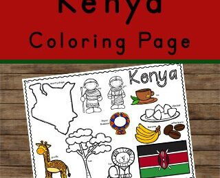 learn about kenya for kids with this printable to color