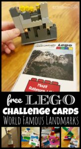 lego challenge cards learning about famous landmarks