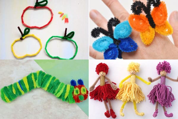 pipe cleaner apples, butterflies, caterpillars and dolls