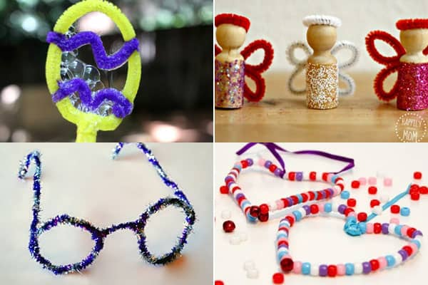 chenille stems crafts to make eggs, fairies, glasses, and hearts