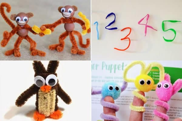 Fun Kindergarten Crafts to make monkeys, numbers, penguins, and puppets