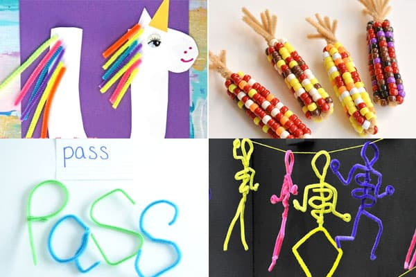 craft ideas to make unicorn, vegetables, bubble wands and x ray skeletons