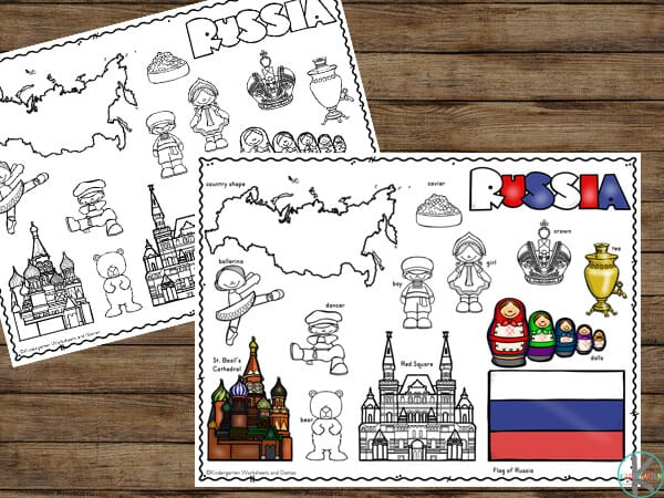 free russia printables to teach toddler, preschool, pre k, kindergarten, and first grade students about USSR