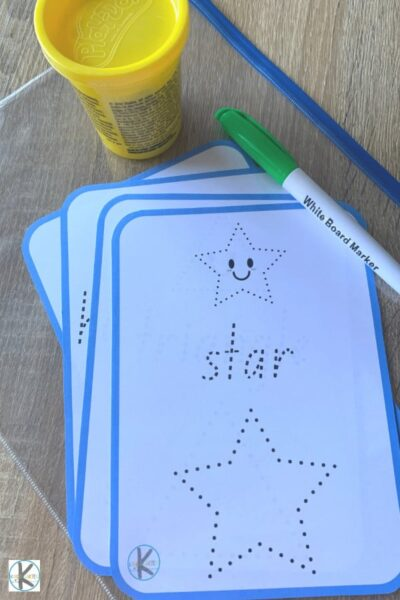 for this shape tracing activity grab the free printable shape mats, dry erase marker, and playdough