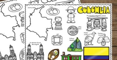 elementary age kids will have fun learning about Columbia for kids as they color these iconic items including flag, country map, arapas, iconic churches, and more