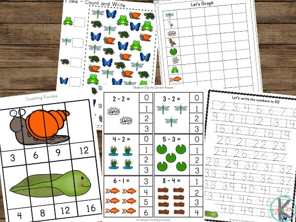 Kindergarten Worksheets with a pond theme for helping children learn a variety of skills