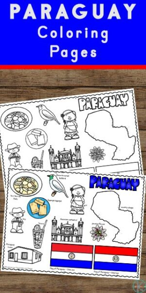 Children will have fun learning about Paraguay and its culture with this FREE Printable Paraguay Coloring Page for preschool, pre k, kindergarten, first grade, 2nd grade, 3rd grade, 4th grade, and 5th grade kids.