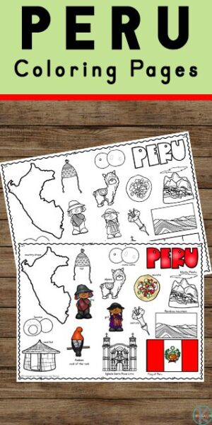 Learn about the third largest country in South America who is covered halfway by the Amazon rainforest. Learn about the Andes Mountains, llamas, Machu Pichu, and other fascinating aspects of life in Peru with these super cute, free printable coloring pages. This is an engaging, hands-on geography activity for preschool, pre k, kindergarten, first grade, 2nd grade, 3rd grade, and 4th grade students!
