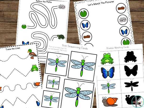 Pond Themed Worksheets including activity sheets like mazes, shapes, tracing lines, matching shadows, and more