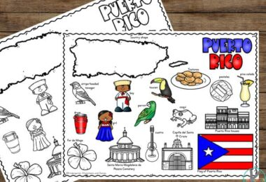 make learning about Puerto Rico for Kids easy with this free printable for preschool, kindergarten, first grade, 2nd grade, 3rd grade students
