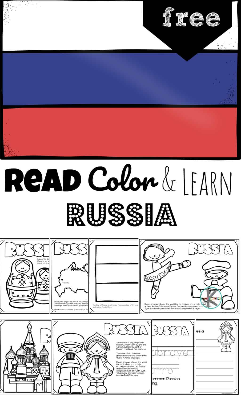 FREE Read Color and Learn about RUSSIA