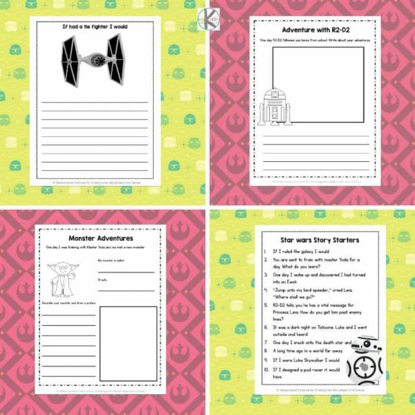 super cute star wars printable writing prompts perfect for May 4th or a star wars theme educational activity for kindergartners