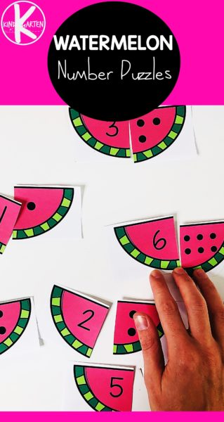 Make practicing counting to 12 fun with these free printableWatermelon Counting Puzzles for hands on math for kindergarten, preschool, and pre k children. This is perfect for a summer themed learning activity.