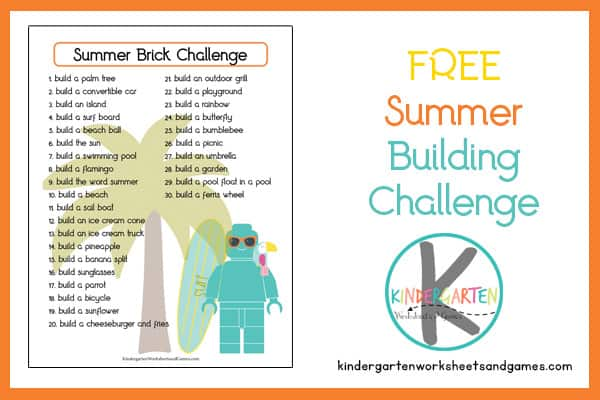 fun free printable list filled with a fun Brick Challenge for kids of all ages
